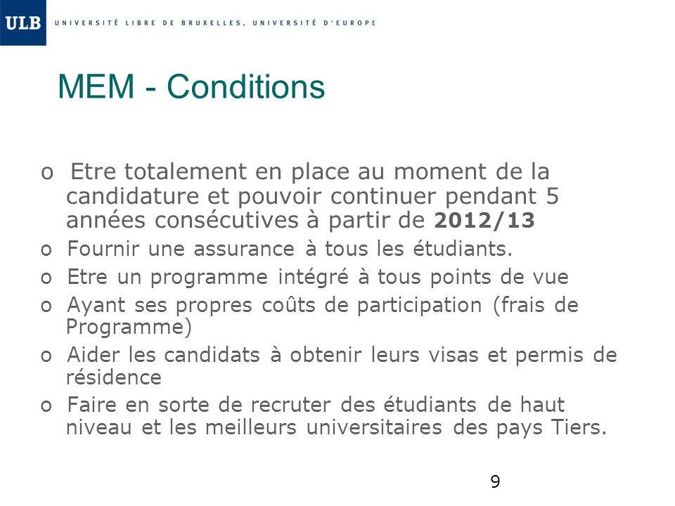 MEM - Conditions o Etre totalement en place au moment de la candidature et pouvoir continuer pendant 5 années consécutives à partir de 2012/13.