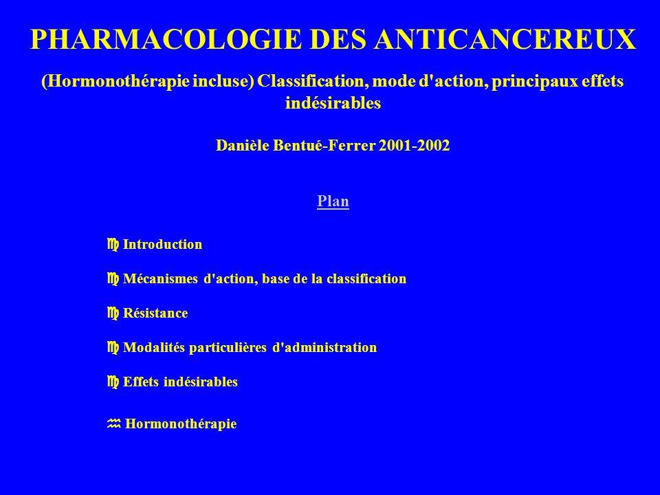 PHARMACOLOGIE DES ANTICANCEREUX (Hormonothérapie incluse) Classification, mode d action, principaux effets indésirables Danièle Bentué-Ferrer 2001-2002