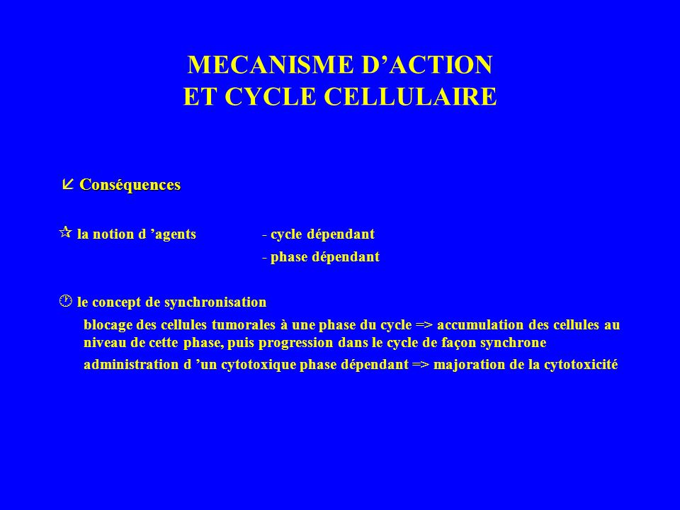 MECANISME D'ACTION ET CYCLE CELLULAIRE