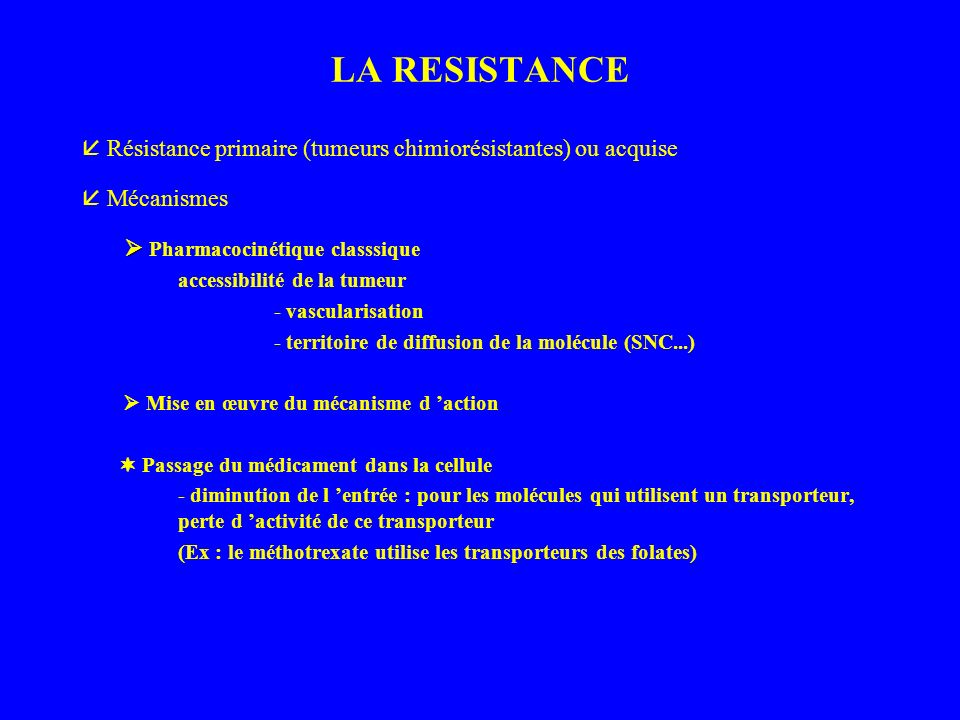 LA RESISTANCE  Résistance primaire (tumeurs chimiorésistantes) ou acquise.  Mécanismes.  Pharmacocinétique classsique.