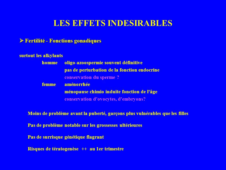 LES EFFETS INDESIRABLES