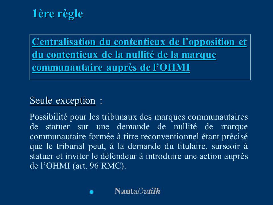 1ère règle Centralisation du contentieux de l'opposition et du contentieux de la nullité de la marque communautaire auprès de l'OHMI