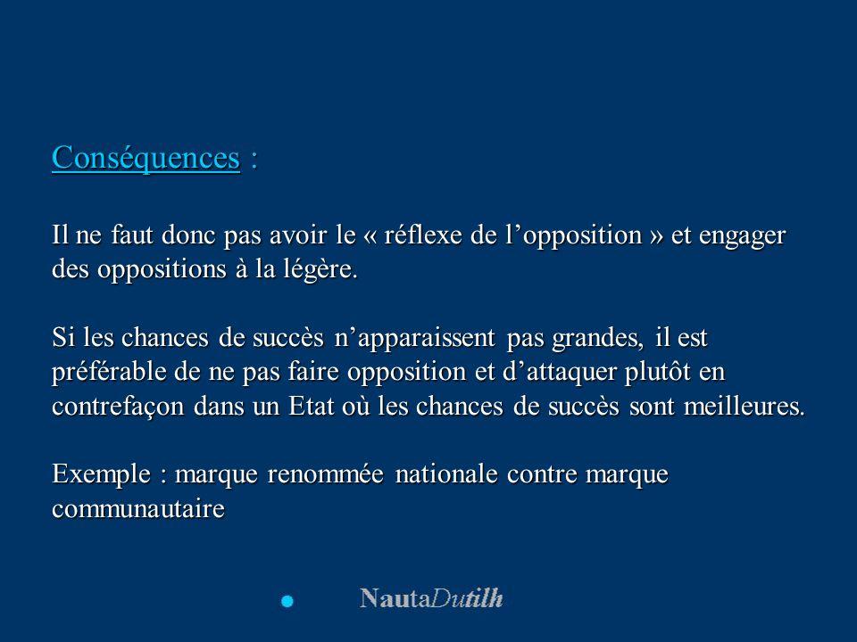 Conséquences : Il ne faut donc pas avoir le « réflexe de l'opposition » et engager des oppositions à la légère.