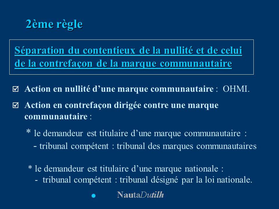 2ème règle Séparation du contentieux de la nullité et de celui de la contrefaçon de la marque communautaire.