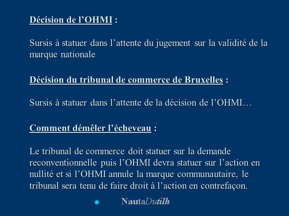 Décision de l'OHMI : Sursis à statuer dans l'attente du jugement sur la validité de la marque nationale.