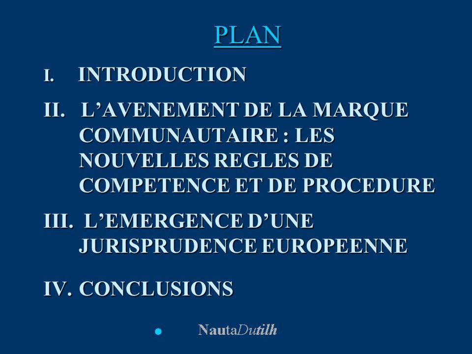 PLAN I. INTRODUCTION. II. L'AVENEMENT DE LA MARQUE COMMUNAUTAIRE : LES NOUVELLES REGLES DE COMPETENCE ET DE PROCEDURE.