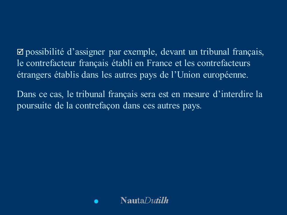 possibilité d'assigner par exemple, devant un tribunal français, le contrefacteur français établi en France et les contrefacteurs étrangers établis dans les autres pays de l'Union européenne.