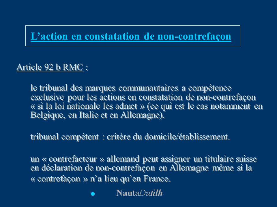 L'action en constatation de non-contrefaçon