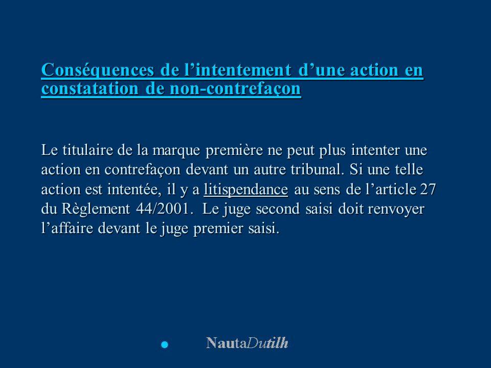 Conséquences de l'intentement d'une action en constatation de non-contrefaçon