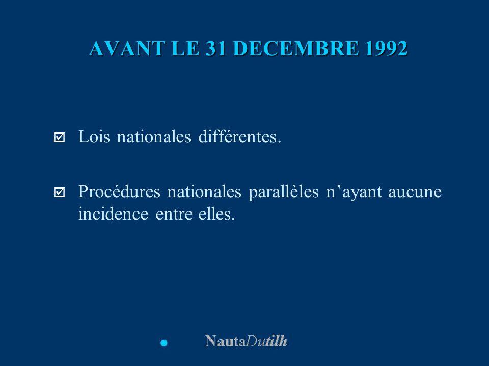 AVANT LE 31 DECEMBRE 1992 Lois nationales différentes.