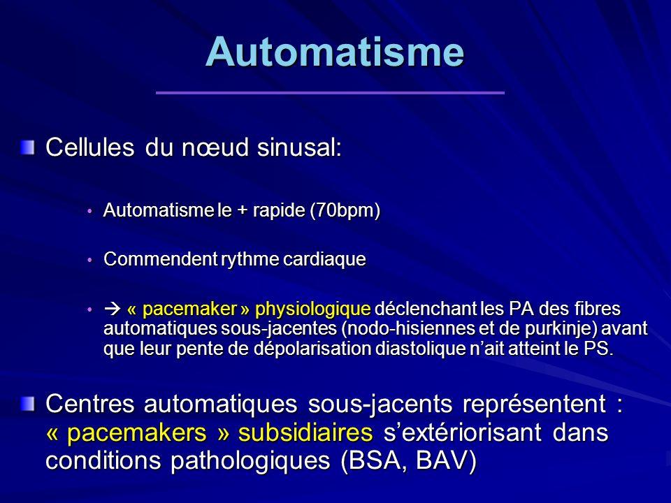 Automatisme Cellules du nœud sinusal: