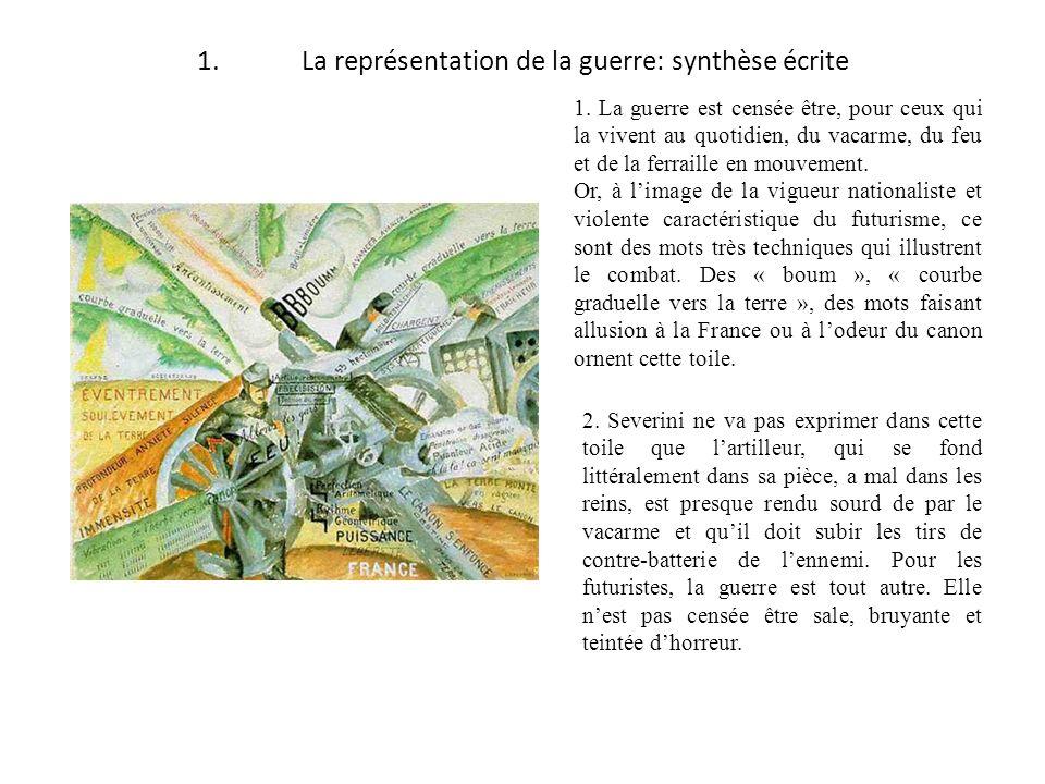 1. La représentation de la guerre: synthèse écrite