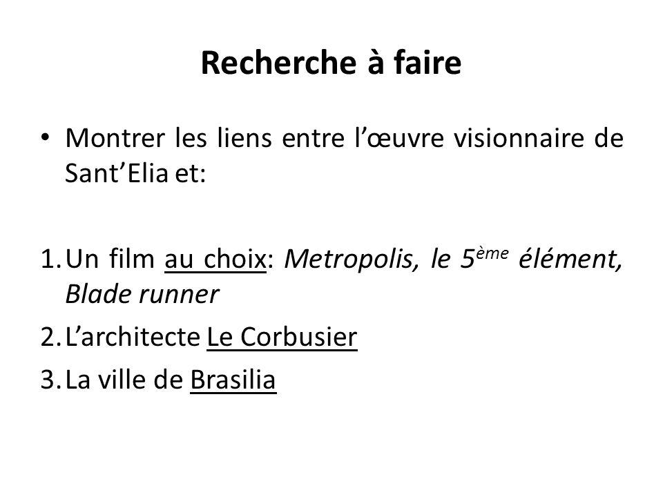 Recherche à faire Montrer les liens entre l'œuvre visionnaire de Sant'Elia et: Un film au choix: Metropolis, le 5ème élément, Blade runner.