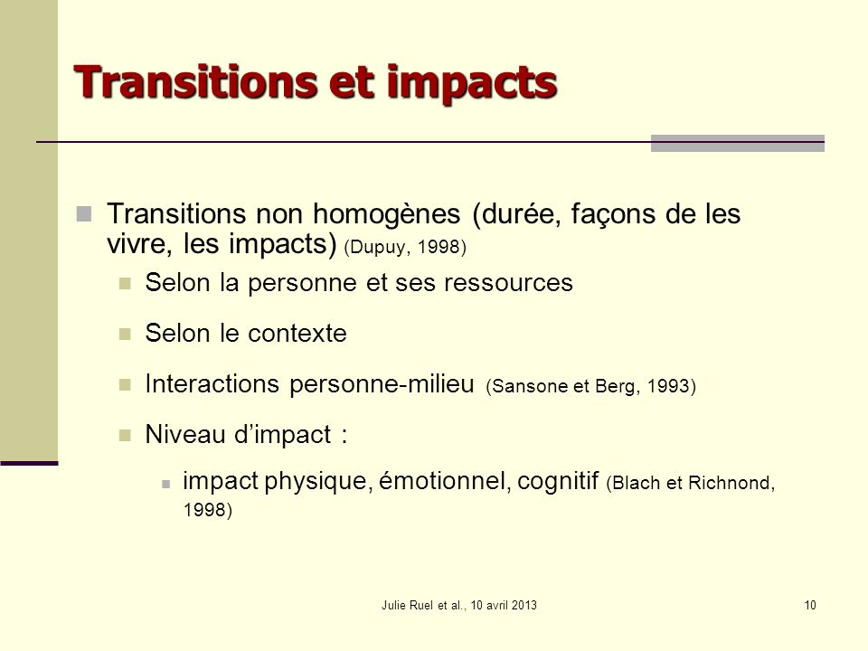 Transitions et impacts