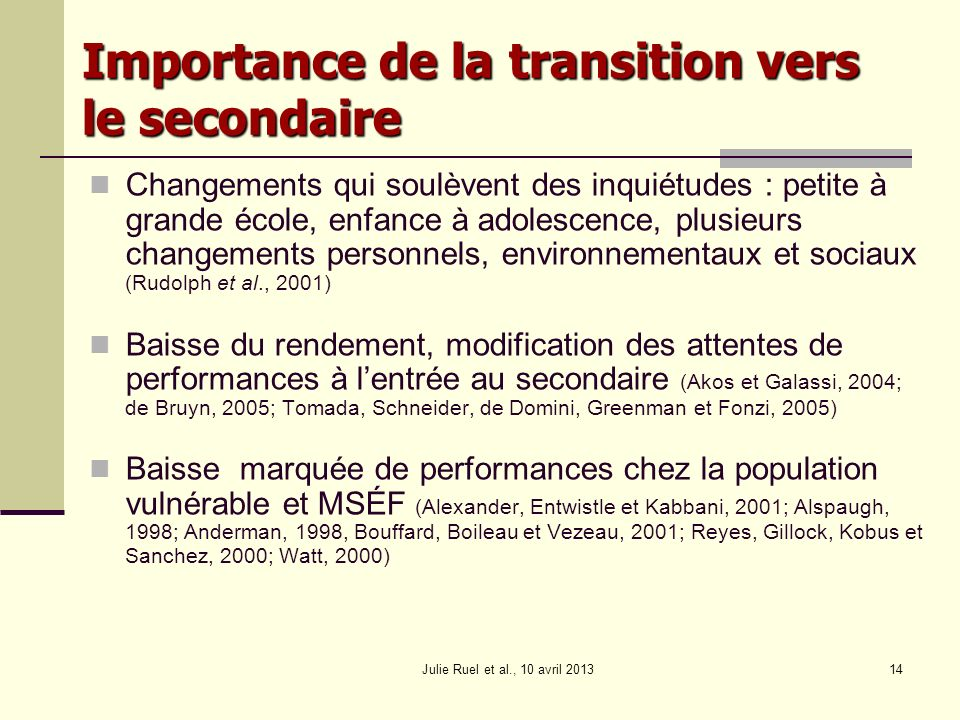 Importance de la transition vers le secondaire