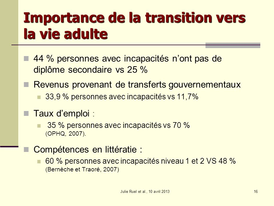 Importance de la transition vers la vie adulte