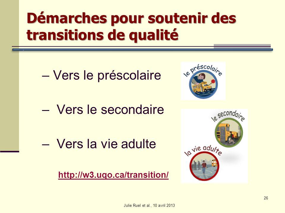 Démarches pour soutenir des transitions de qualité