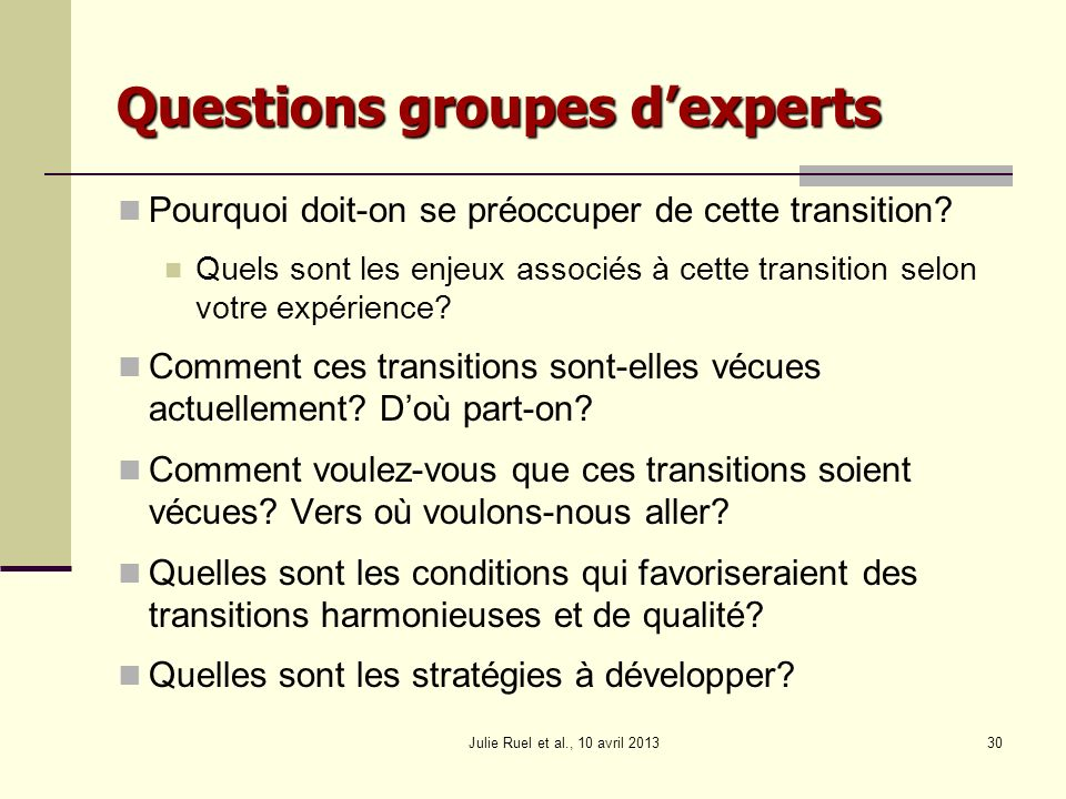 Questions groupes d'experts