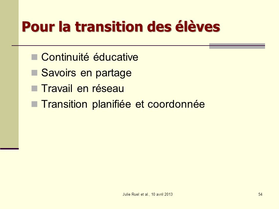 Pour la transition des élèves