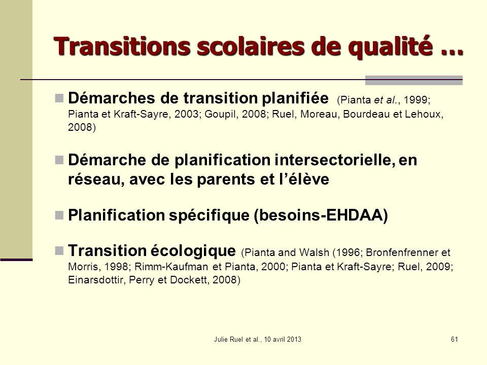 Transitions scolaires de qualité …