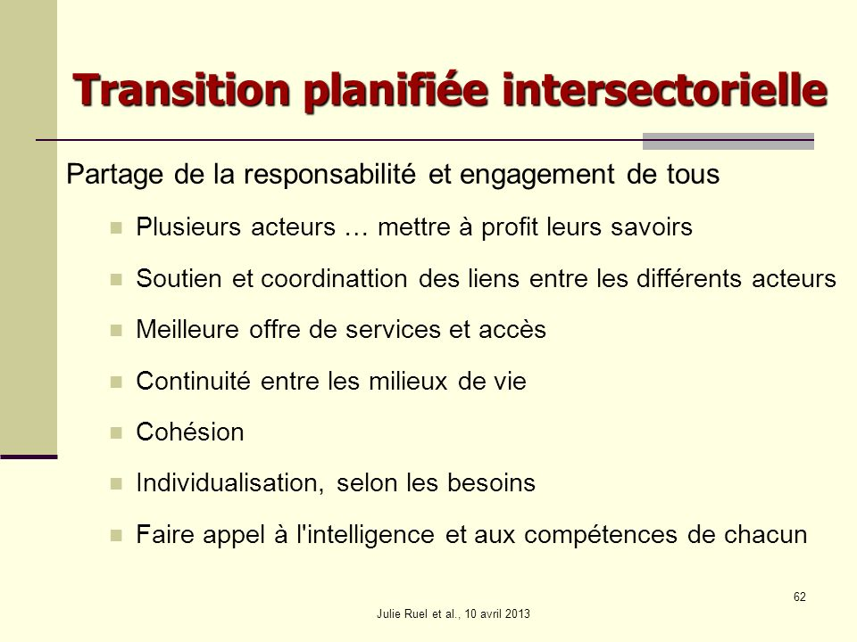 Transition planifiée intersectorielle