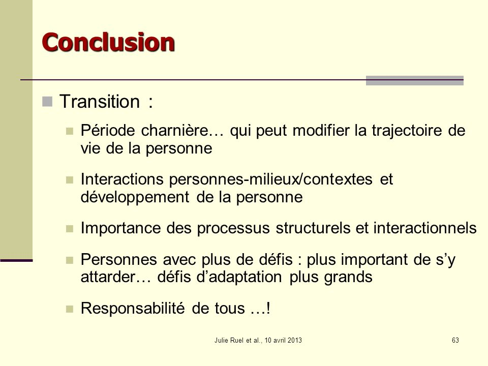 Conclusion Transition :