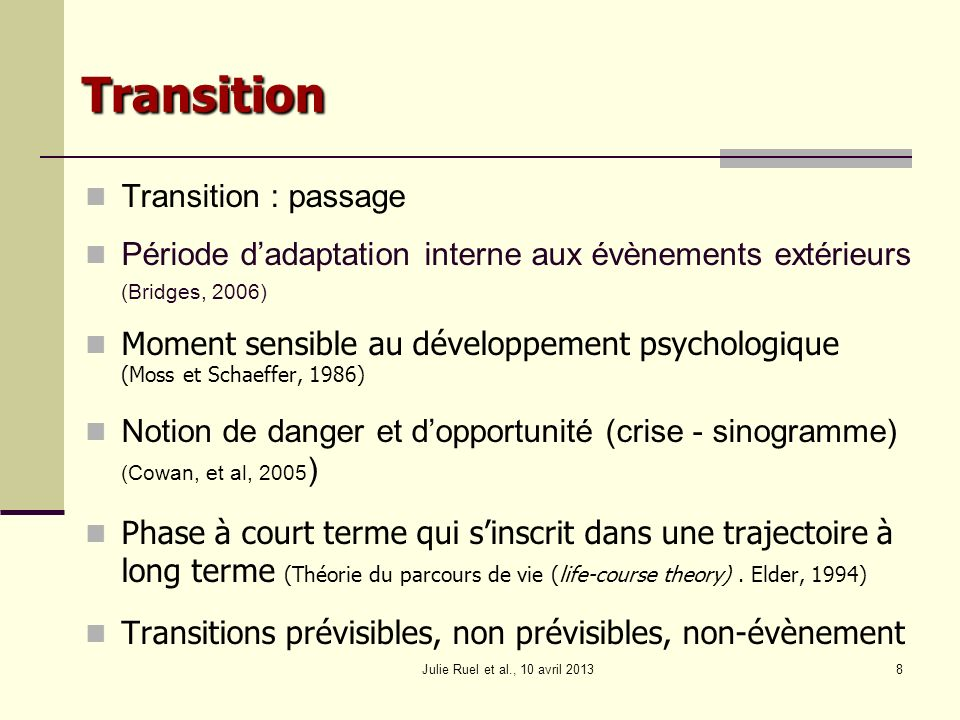 Transition Transition : passage