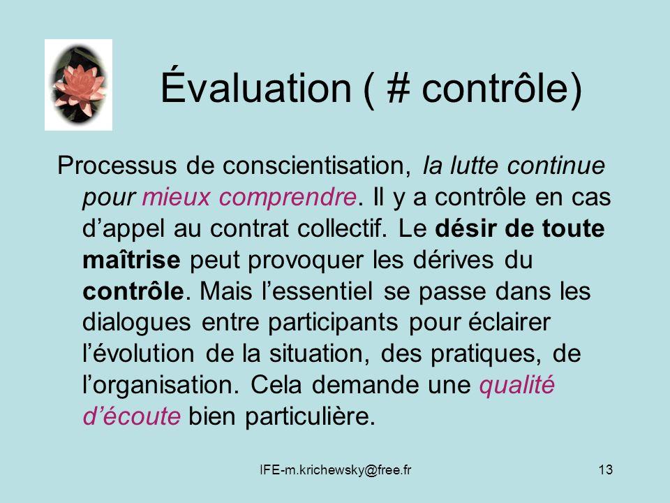 Évaluation ( # contrôle)