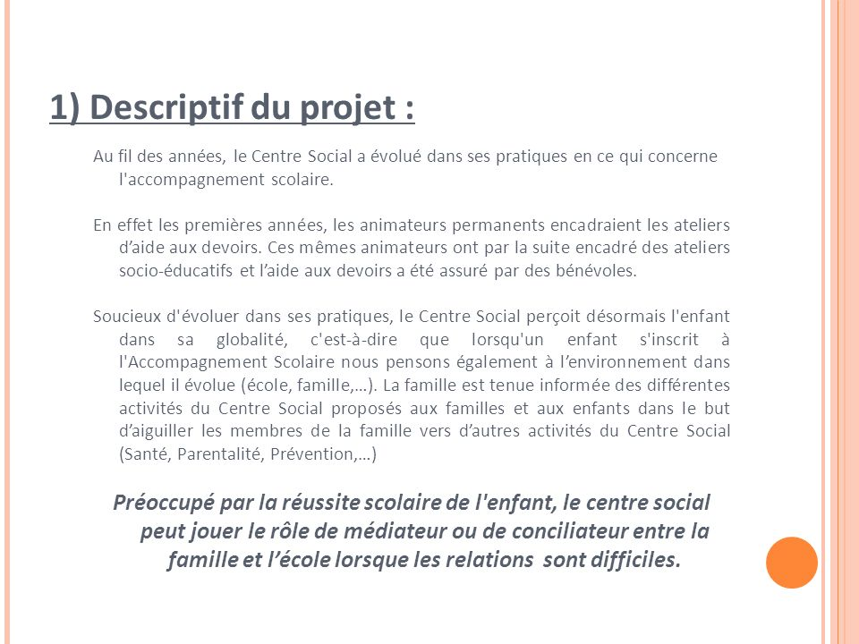1) Descriptif du projet :
