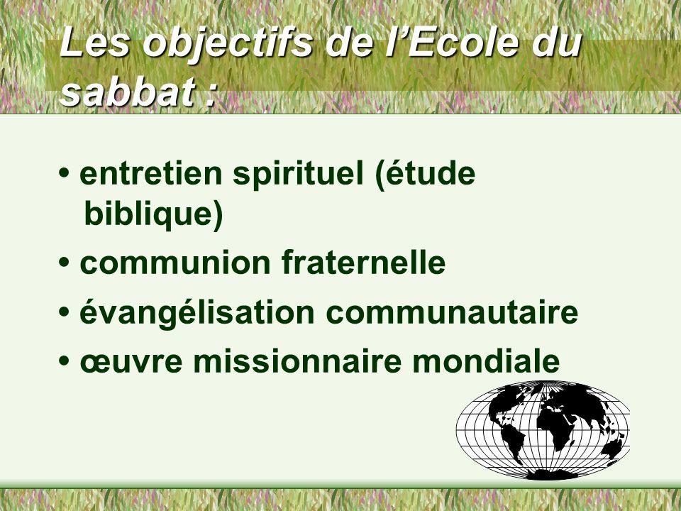 Les objectifs de l'Ecole du sabbat :