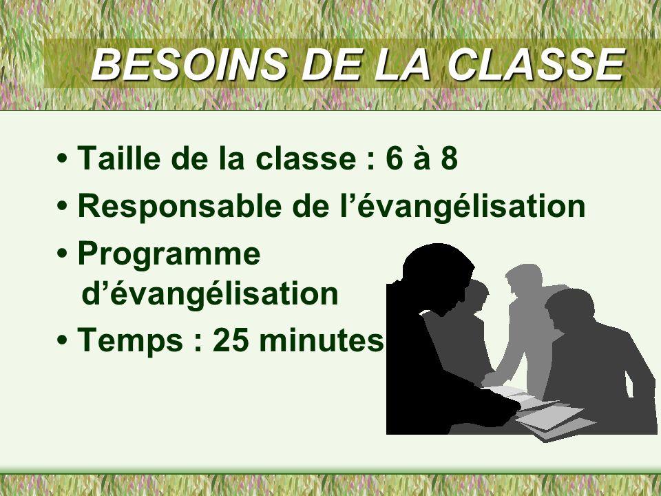 BESOINS DE LA CLASSE • Taille de la classe : 6 à 8