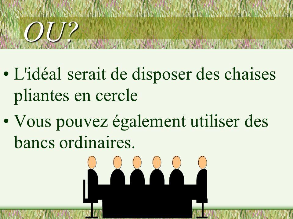 OU • L idéal serait de disposer des chaises pliantes en cercle