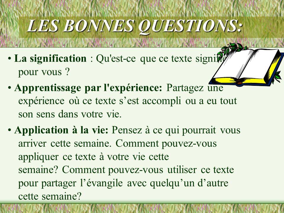 LES BONNES QUESTIONS: • La signification : Qu est-ce que ce texte signifie pour vous