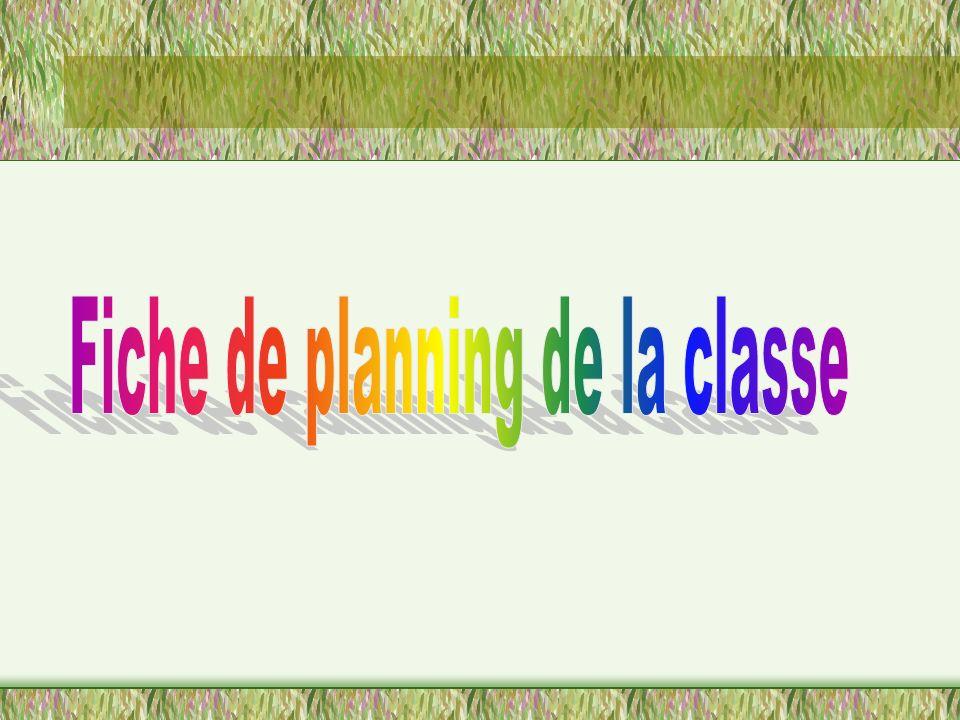 Fiche de planning de la classe