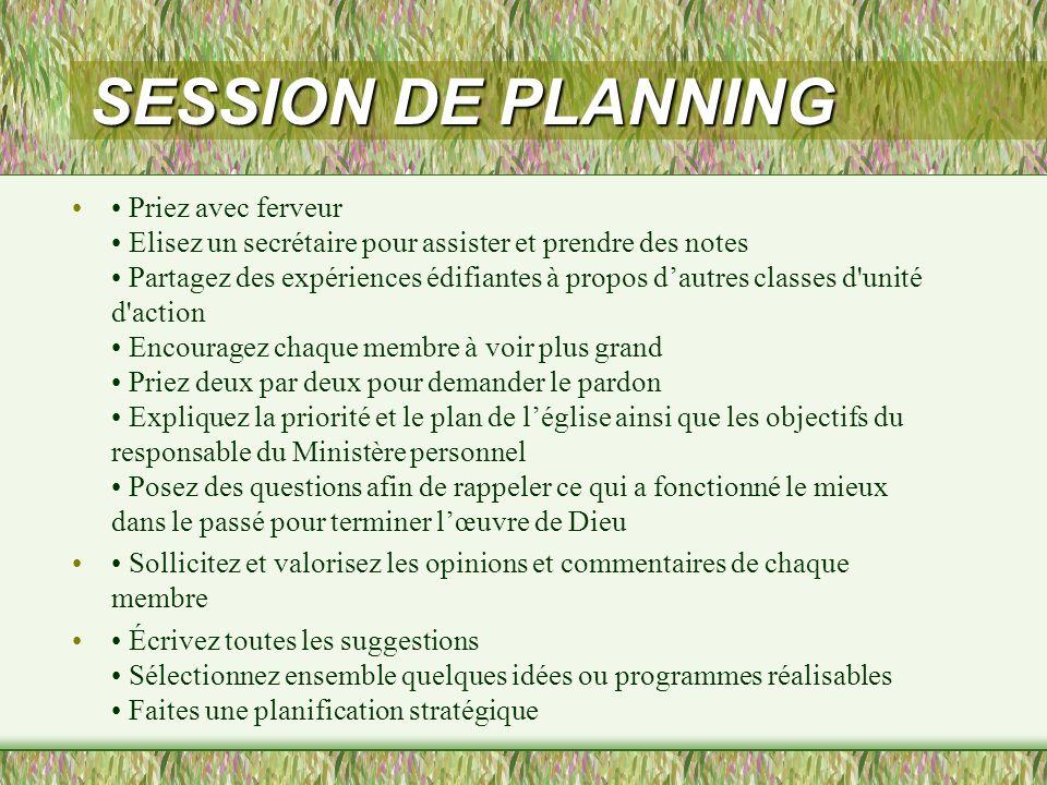 SESSION DE PLANNING