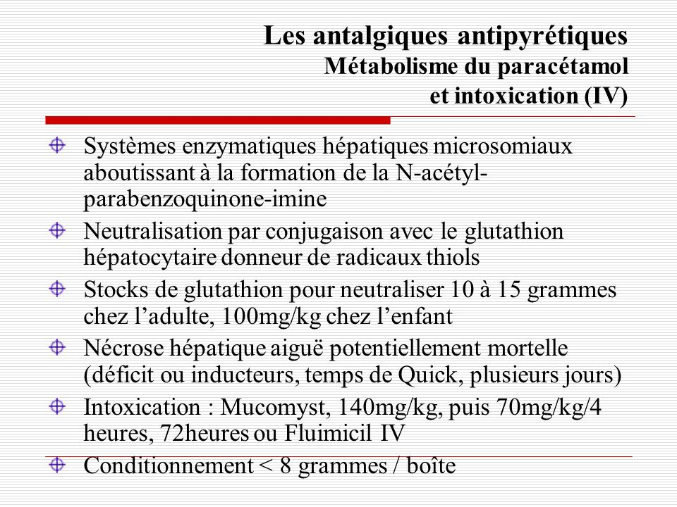Les antalgiques antipyrétiques Métabolisme du paracétamol et intoxication (IV)