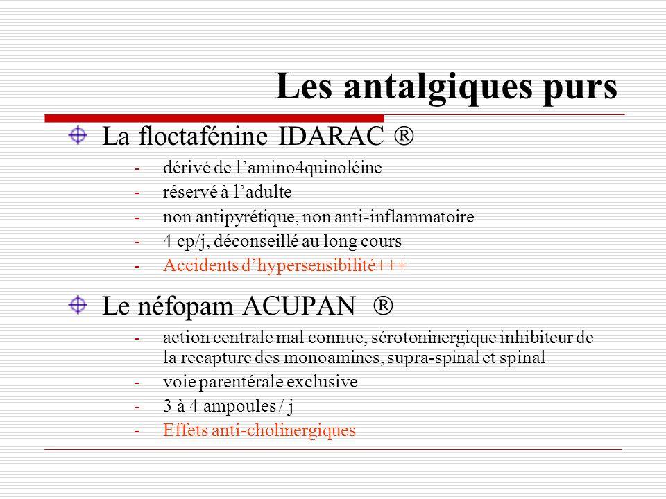 Les antalgiques purs La floctafénine IDARAC  Le néfopam ACUPAN 