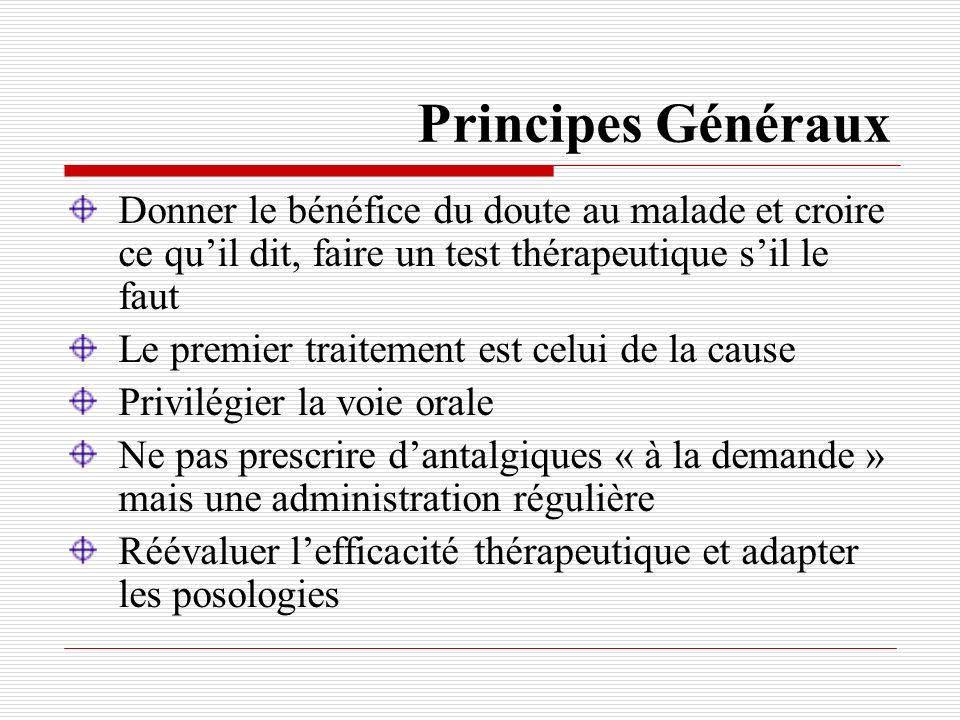 Principes Généraux Donner le bénéfice du doute au malade et croire ce qu'il dit, faire un test thérapeutique s'il le faut.