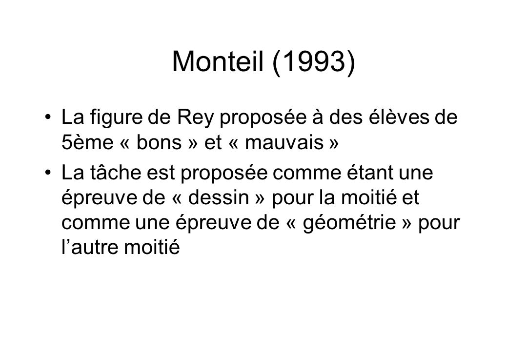 Monteil (1993) La figure de Rey proposée à des élèves de 5ème « bons » et « mauvais »