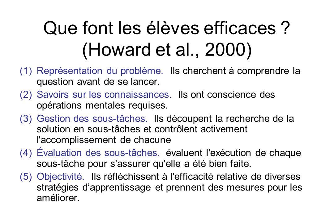 Que font les élèves efficaces (Howard et al., 2000)