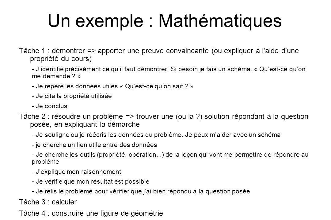 Un exemple : Mathématiques