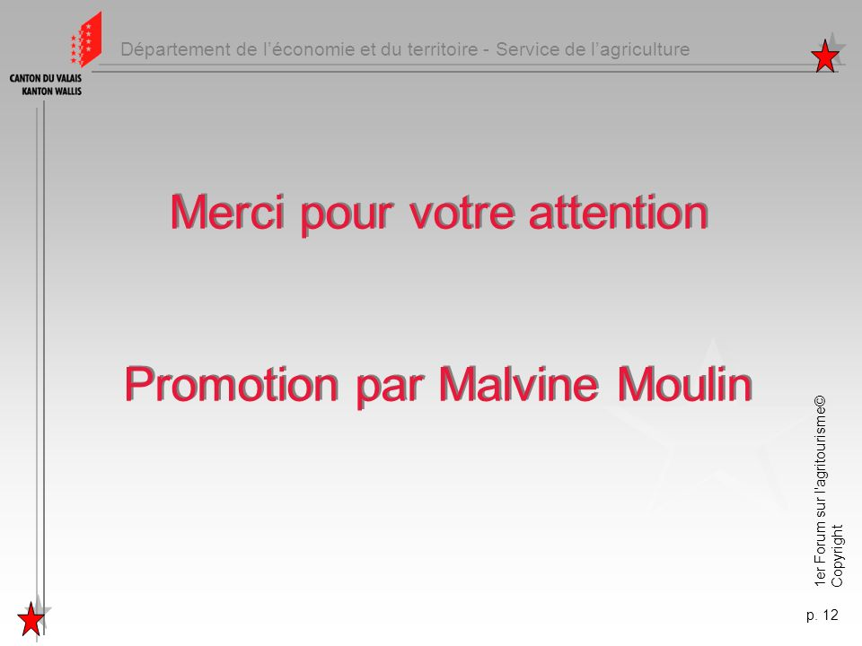 Merci pour votre attention Promotion par Malvine Moulin