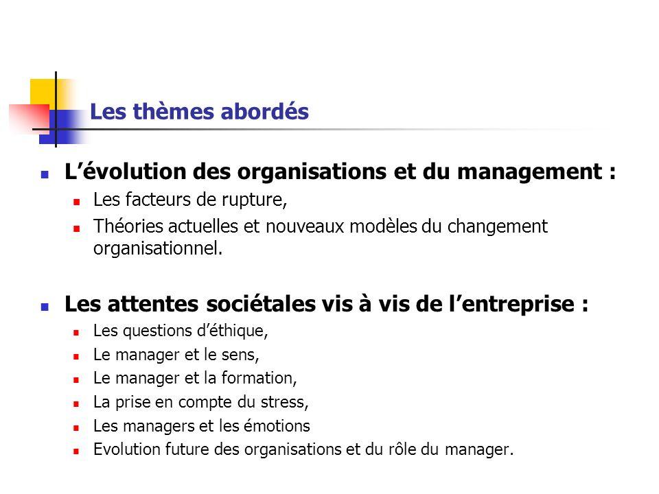 L'évolution des organisations et du management :
