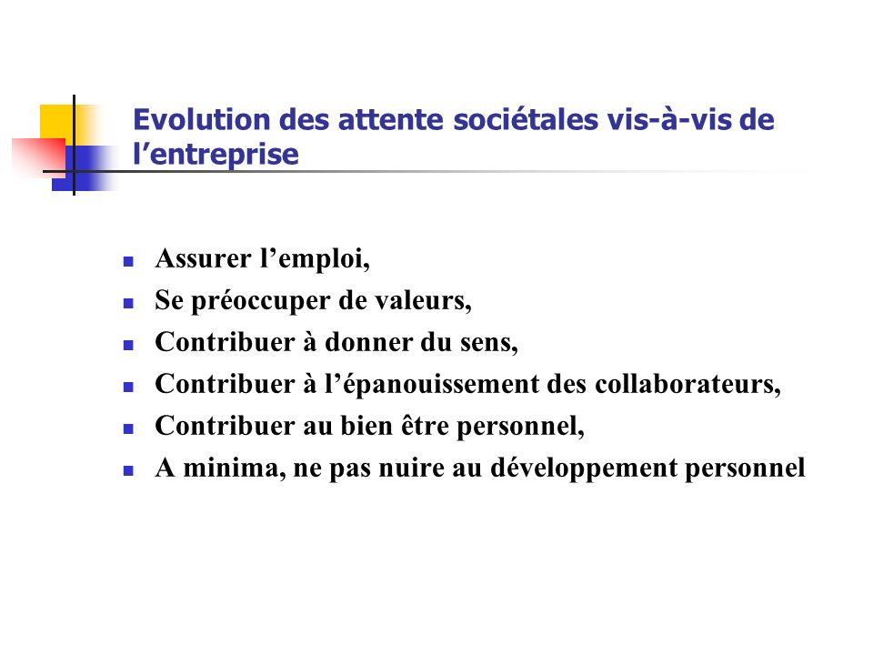 Evolution des attente sociétales vis-à-vis de l'entreprise