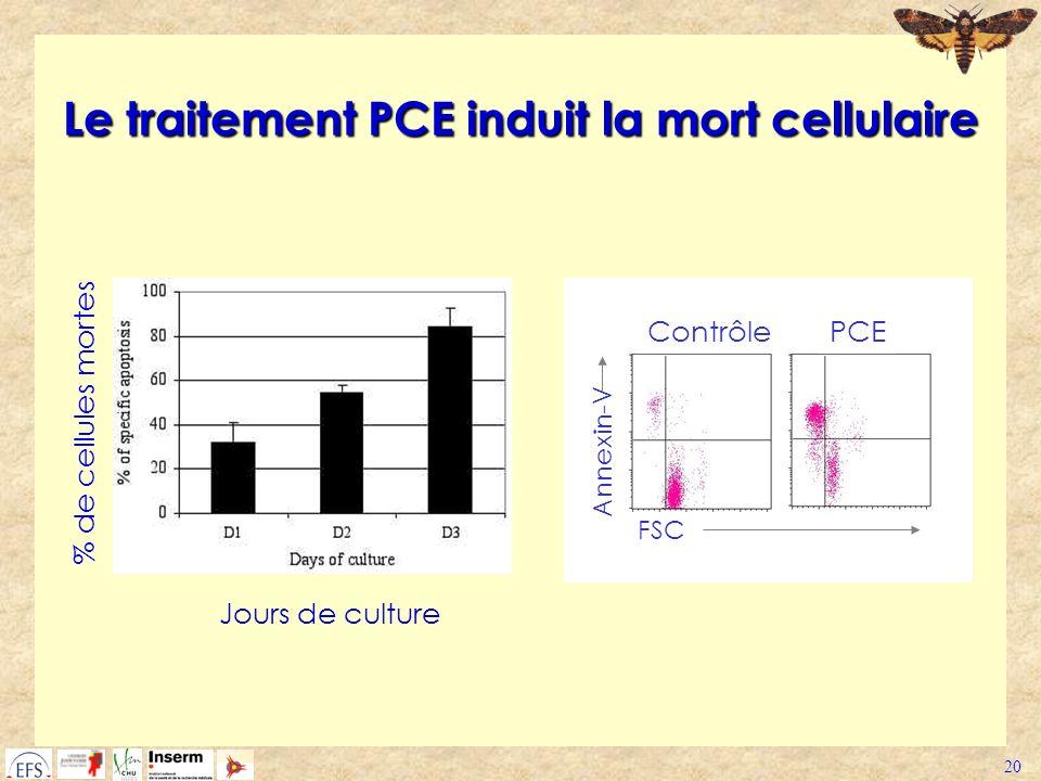 Le traitement PCE induit la mort cellulaire