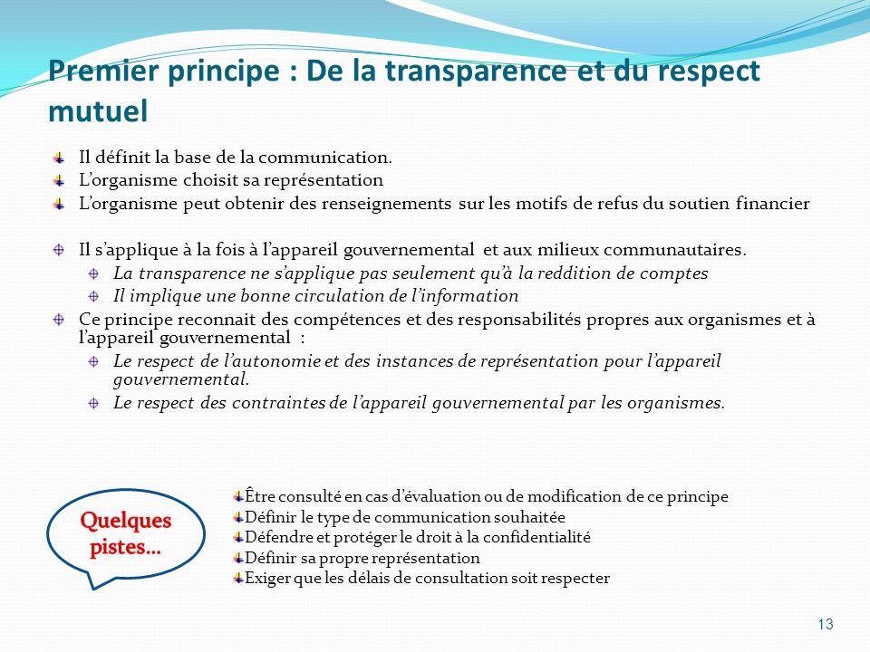 Premier principe : De la transparence et du respect mutuel