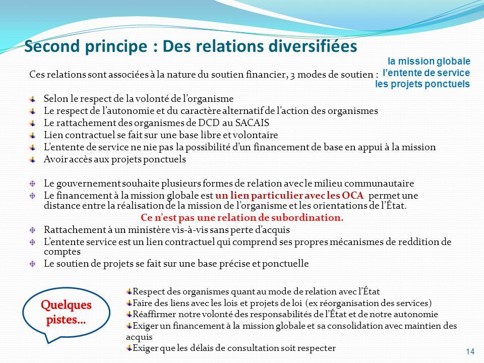 Second principe : Des relations diversifiées