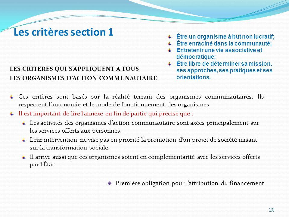 Les critères section 1 LES CRITÈRES QUI S'APPLIQUENT À TOUS