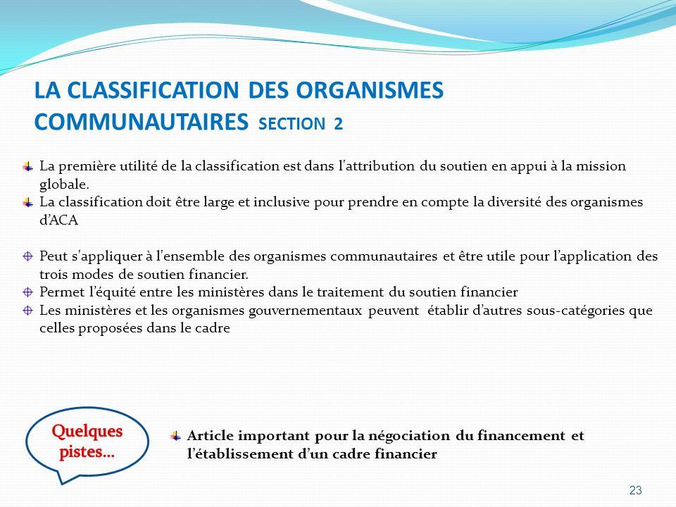 LA CLASSIFICATION DES ORGANISMES COMMUNAUTAIRES SECTION 2