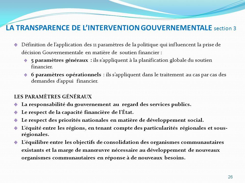 LA TRANSPARENCE DE L'INTERVENTION GOUVERNEMENTALE section 3